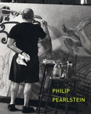 A photo of Philip Pearlsteing Painting on a large canvas