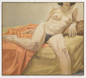 1967, Nude on Orange and Tan Drapes, oil, 44x50, PPS718