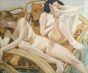 Two Models in Bamboo Chairs, Oil on Canvas, 60 x 72
