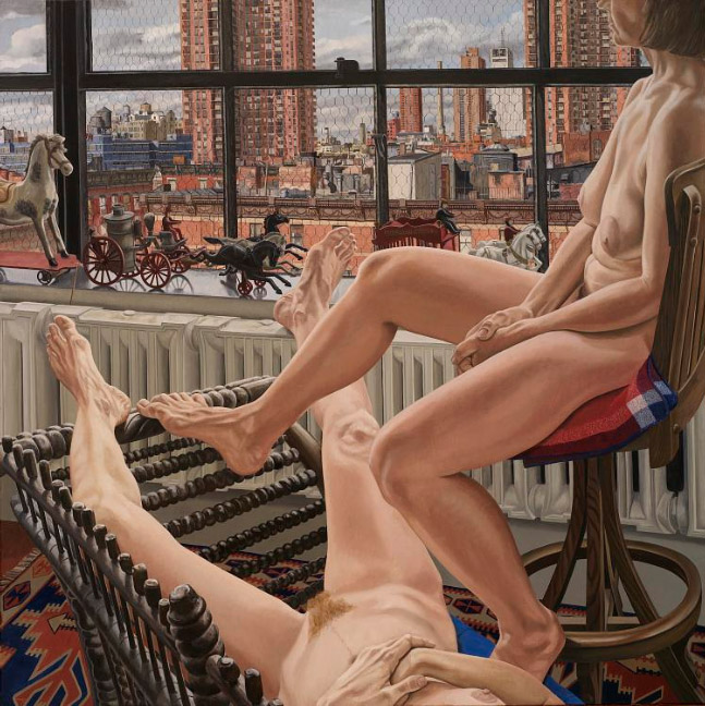 1987 Two Models in a Window with Cast Iron Toys Oil on Canvas 72 x 72