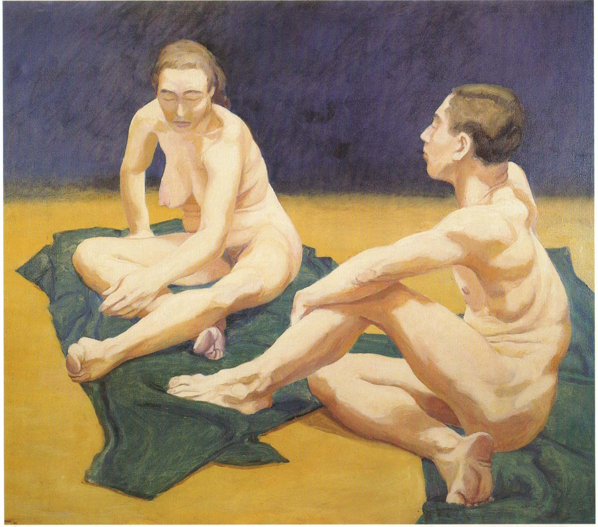 1962 Male and Female Models Sitting on the Floor Oil on Canvas 44 x 55