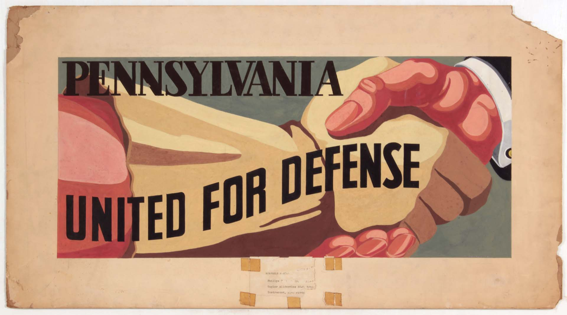 1941 Pennsylvania United for Defense Casein on Paper 18 x 33