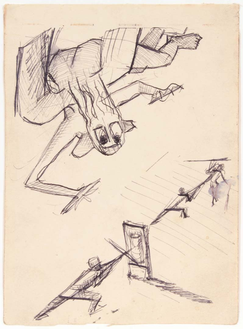 1949 Angel of Death over Training Soldiers Pen and Ink on Paper 6.625 x 4.8125