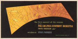 1949 Philadelphia Symphony Orchestra Poster Paint on Board 10 x 20.125