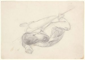 1949 NT (Soldier Lying Sideways, Head on One Arm, Holding Bayonette) -Graphite on Paper -4.75 x 6.75