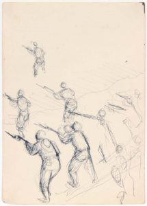 1949 NT (Training Soldiers) Pen and Ink on Paper 6.75 x 4.75