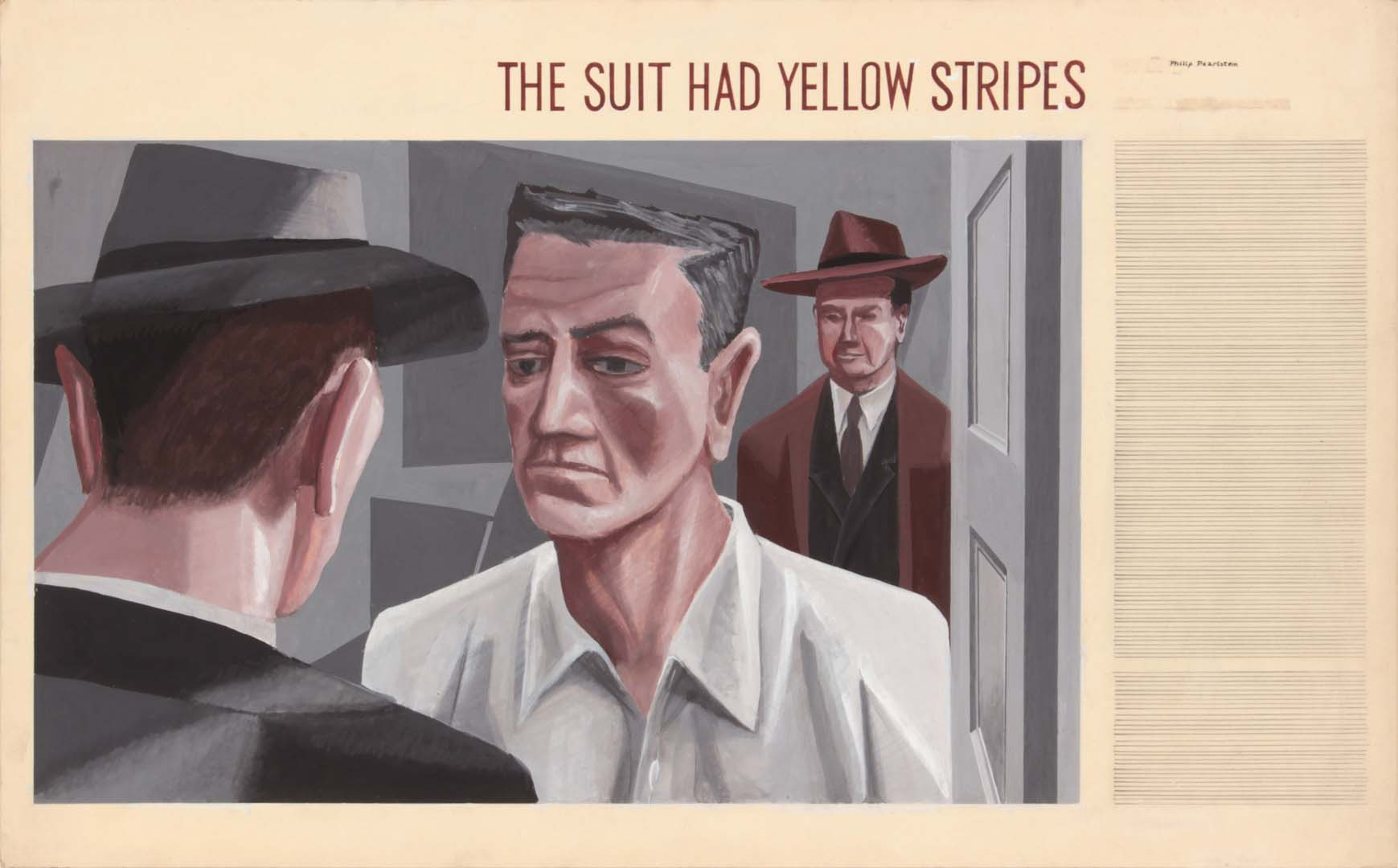 1949 The Suit Had Yellow Stripes Casein on Paper 13.6875 x 22