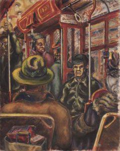 1941 Pittsburgh Streetcar Oil on Board 20 x 16