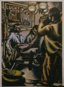 1941 Wylie Ave Barbershop Tempera 24 x 16