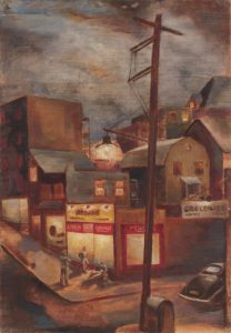 1942 Street Corner in Pittsburgh Oil on Board 24 x 16.50