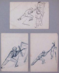 1943 Bayonet Practice Drawing 4.75 x 6.75 top 6.75 x 4.75 bottom