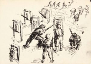 1943 Bayonet Practice I Pen and Ink on Paper 4.8125 x 6.75