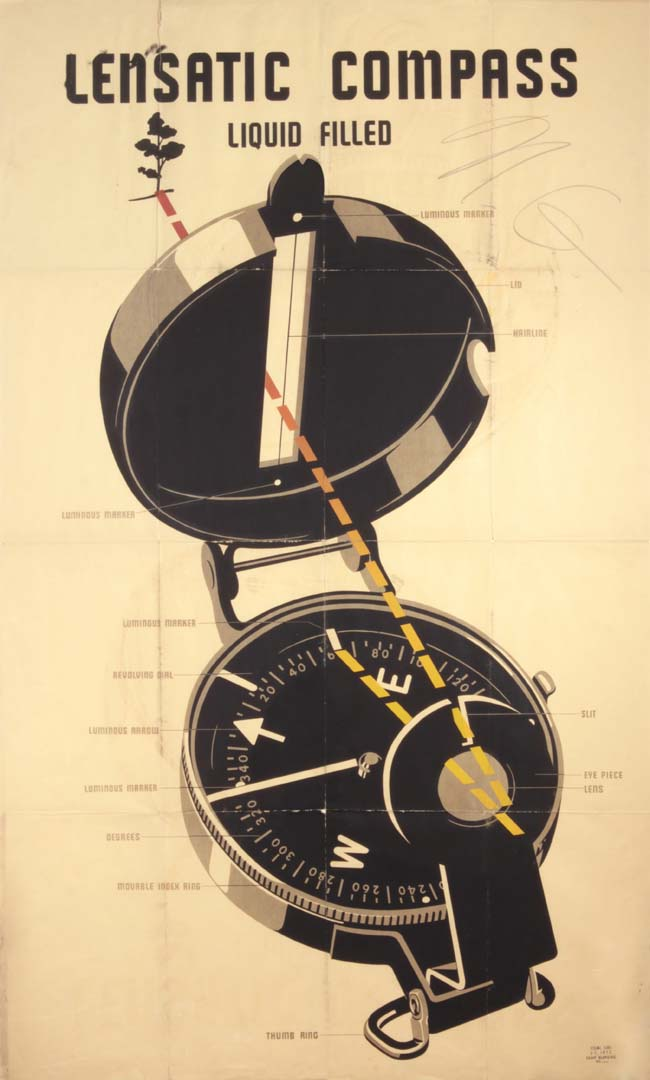 1943 Lensatic Compass Chart Silkscreen on Paper 60 x 35.875