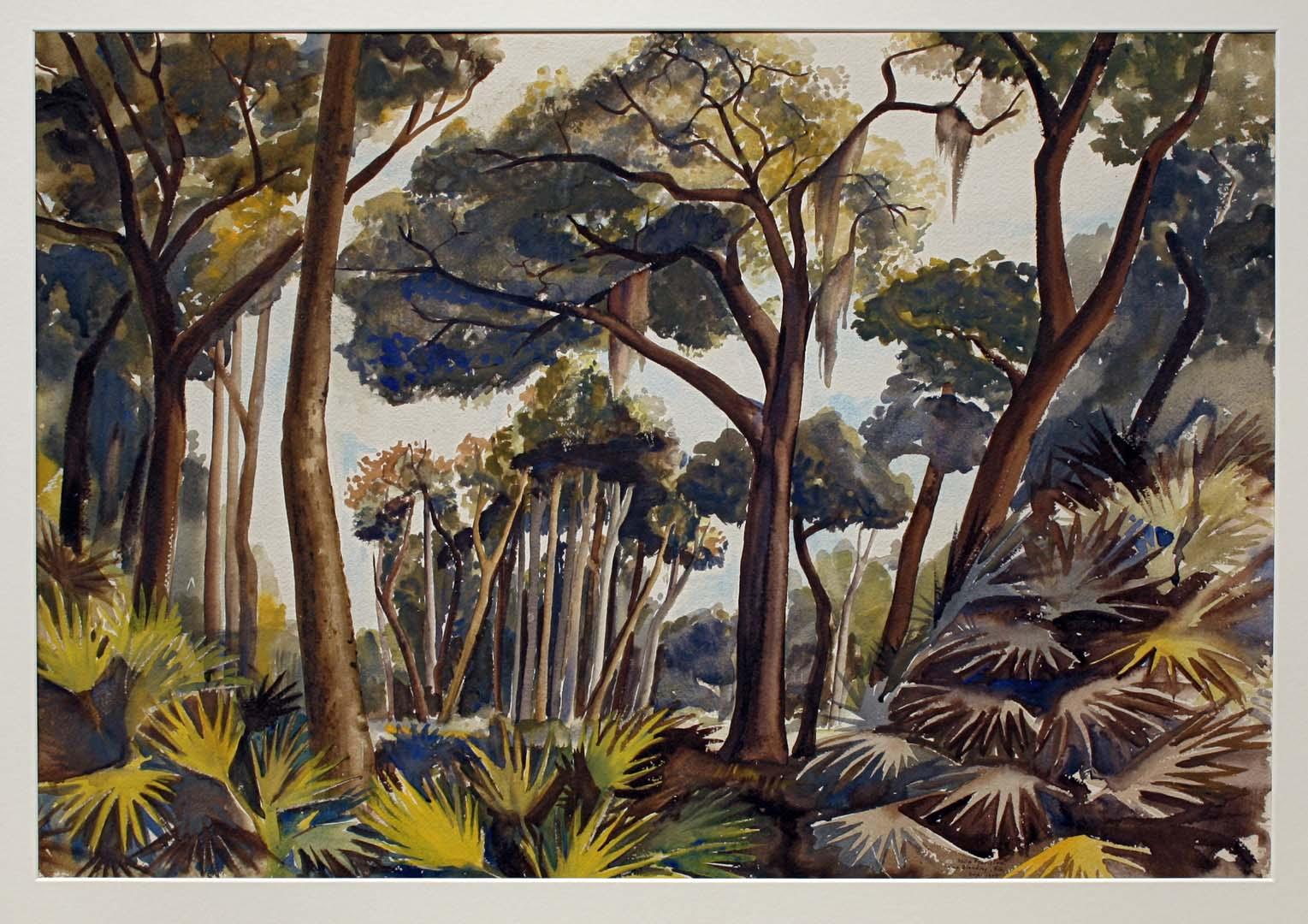 1943 Swamp Camp Blanding Florida Watercolor 22.75 x 31