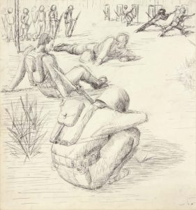 1943 Training In Florida V Pen and Ink on Paper 8.875 x 8.25