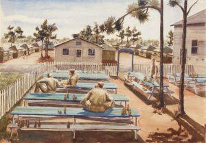 1944 Beer Garden (Camp Blanding Florida) Watercolor on Paper 21 x 30.125