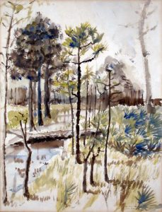 1944 Camp Blanding Florida Watercolor 15.25 x 11.625