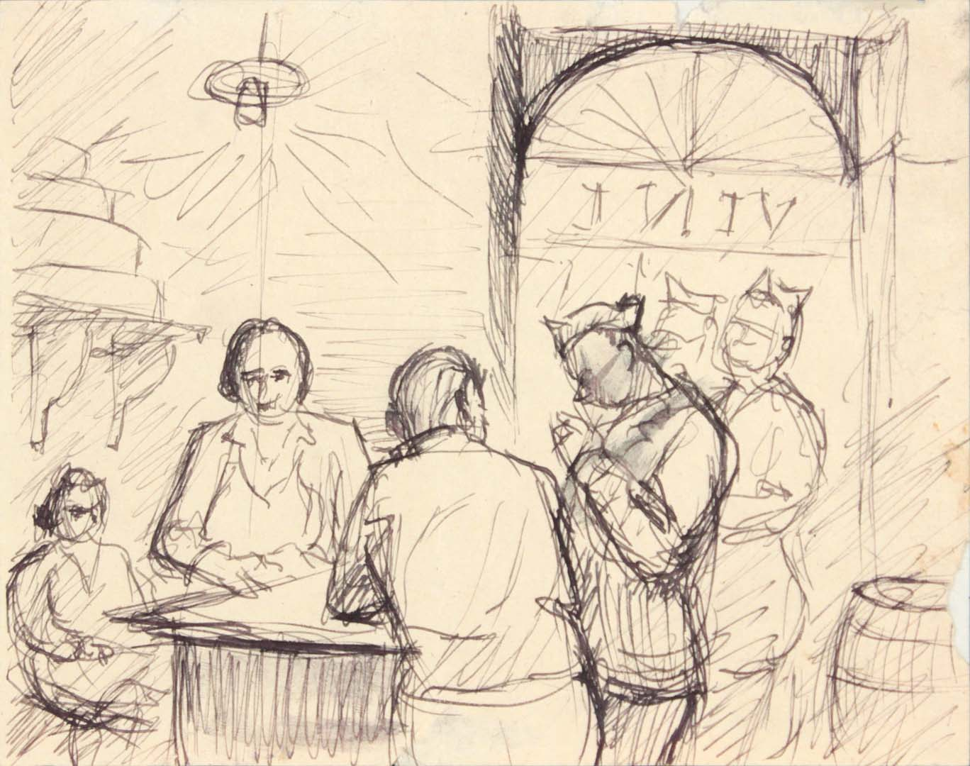 1944 Caserta Italy II Pen and Ink on Paper 4.75 x 6