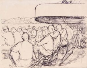 1944 Convoy to Italy II Pen and Ink on Paper 4.8125 x 6.125