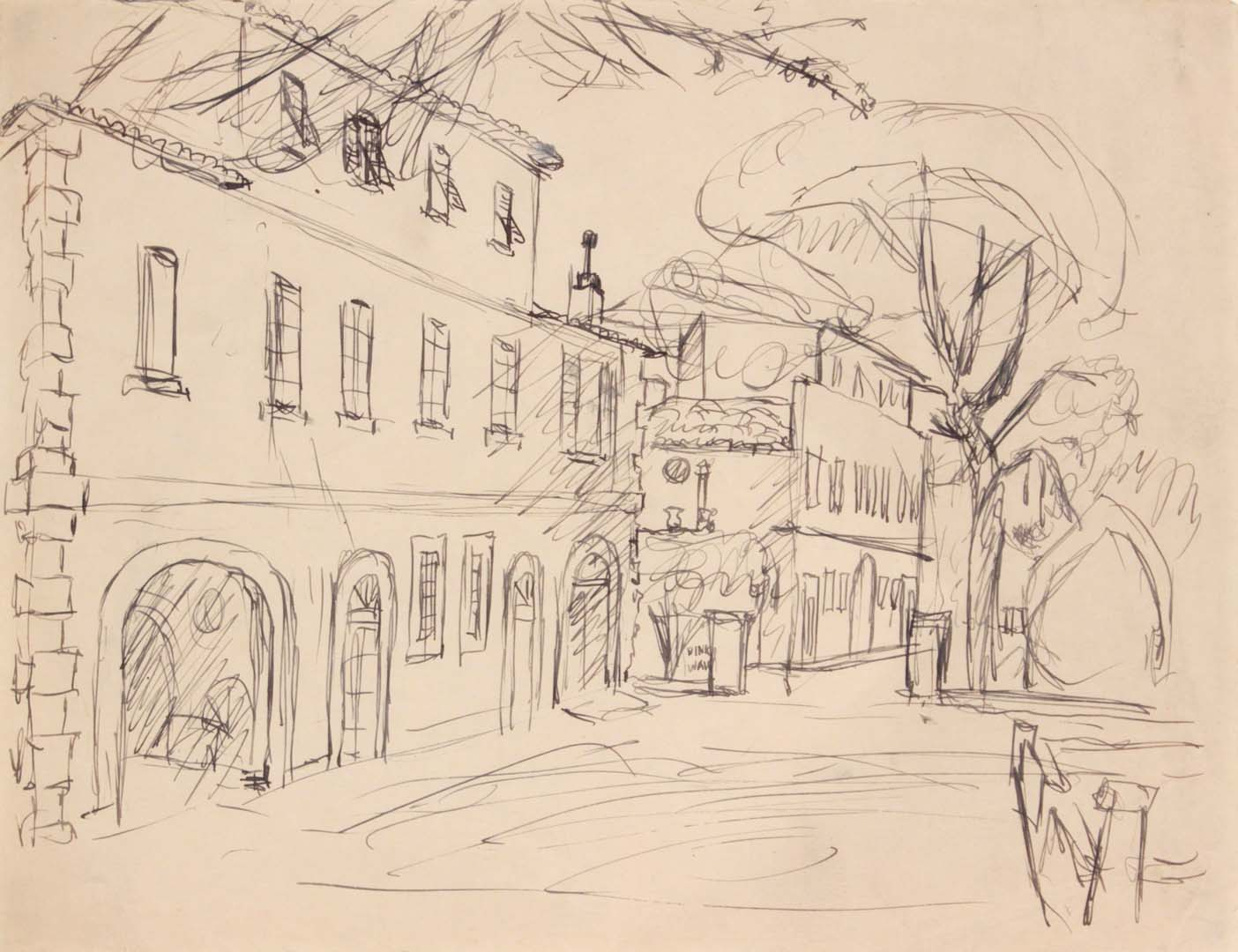 1944 Rome Italy XV Pen and Ink on Paper 8.0625 x 10.50