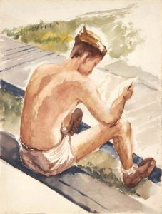 1944 Training In Florida (Soldier Reading Letter) Watercolor on Paper 16 x 12