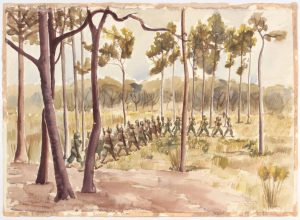 1944 Training in Florida Camp Blanding Fla (Soldiers Marching among Trees) Watercolor on Paper 23 x 31