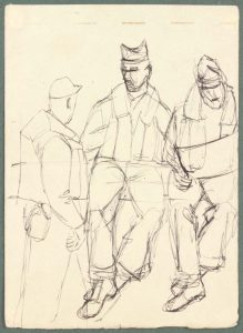 1944 NT (3 soldiers one reading) Pen and Ink on Paper 6.625 x 4.8125