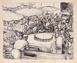 1945 G.I. Truck in Roman Market Pen and Ink on Paper 9.9375 x 11.875