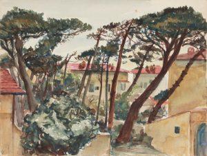 1945 Marina Di Pisa III Watercolor 9 x 11.875
