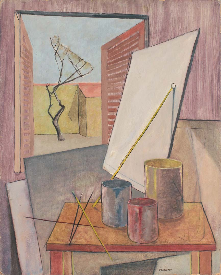 1947 Still Life Sign Shop in Italy Oil on Board 20 x 16