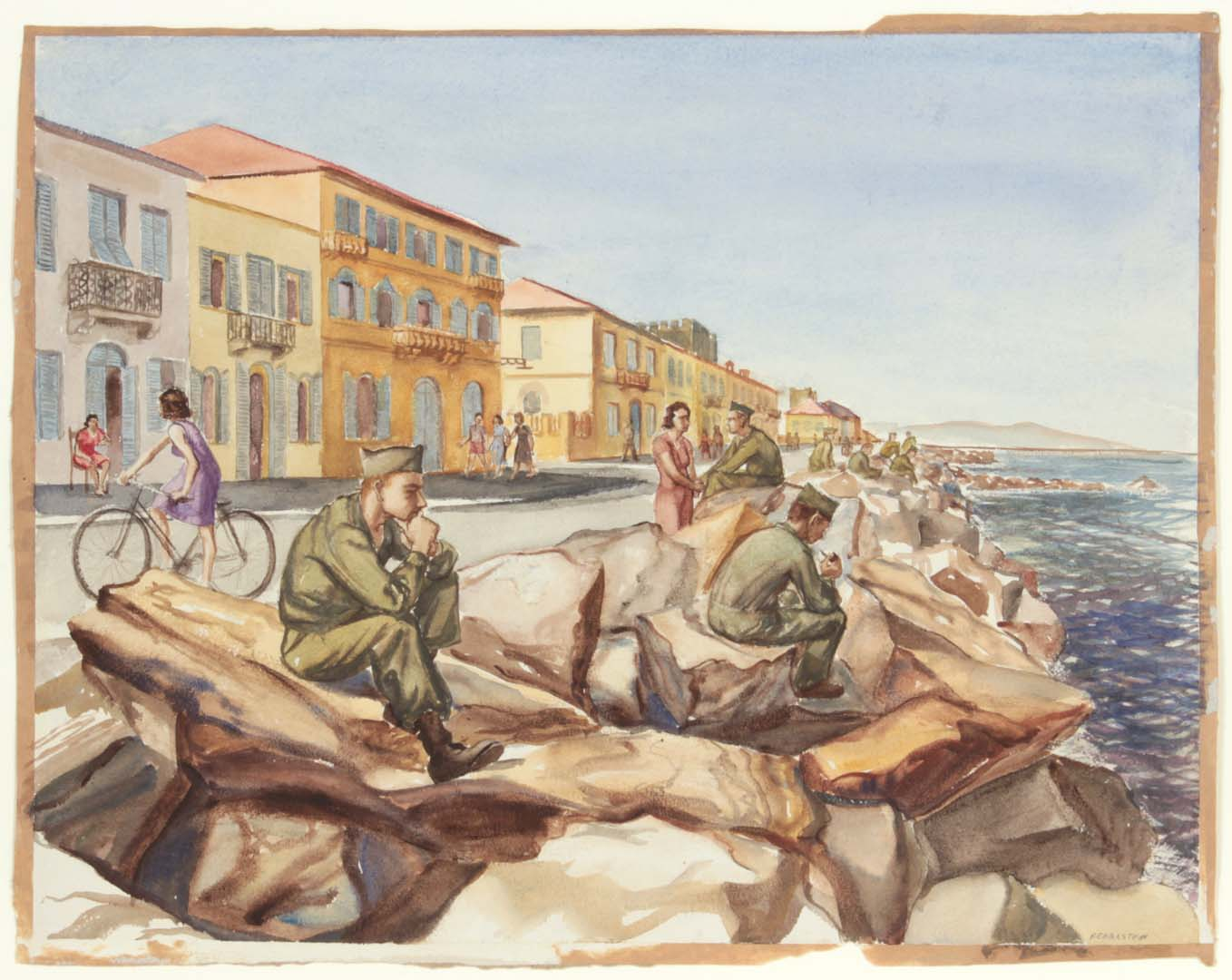 1946 GIs at Marina di Pisa Breakwater Watercolor on Paper 14 x 18