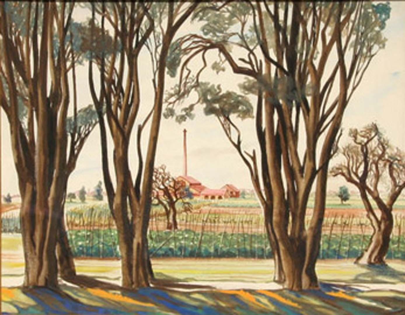 1946 Livorno II Italy Watercolor 13 x 16.5