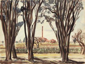 1946 Livorno II Italy Watercolor 9 x 11.875