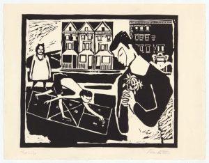 1948 Spring Linoleum Cut 8.75 x 11.50