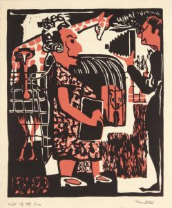 1948 Visit to the Zoo Linoleum Cut 10 x 8.25