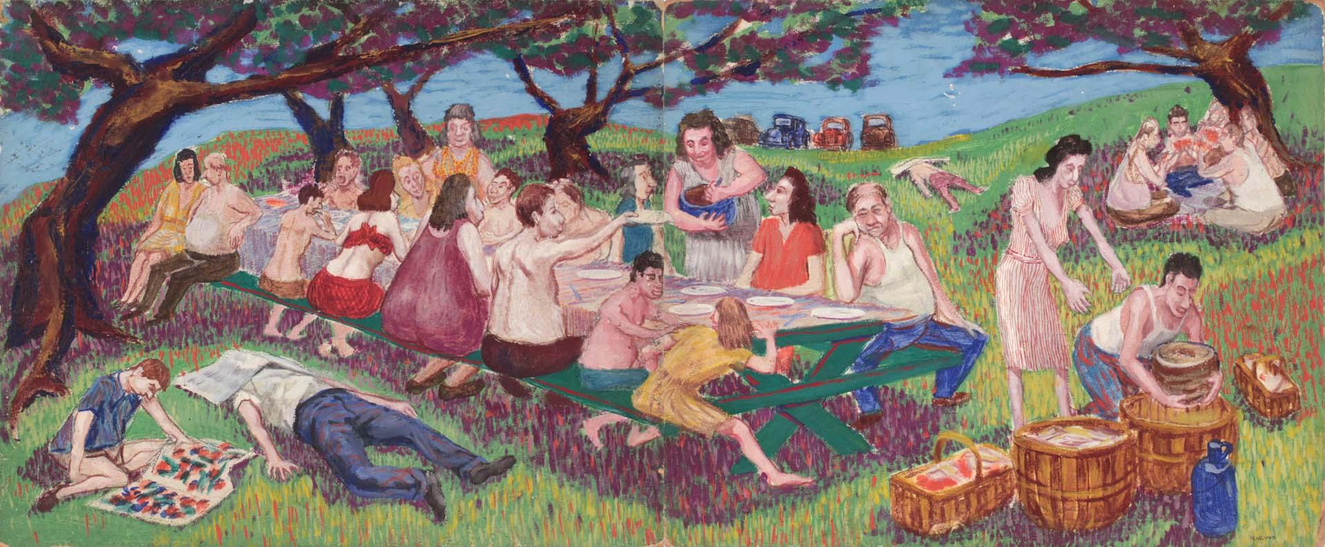1948 Family Picnic (Caricature