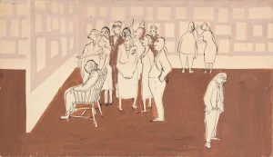 1948 Philip's Family at Carnegie Museum When His Painting Won First Prize Casein on Board 11.625 x 17.625