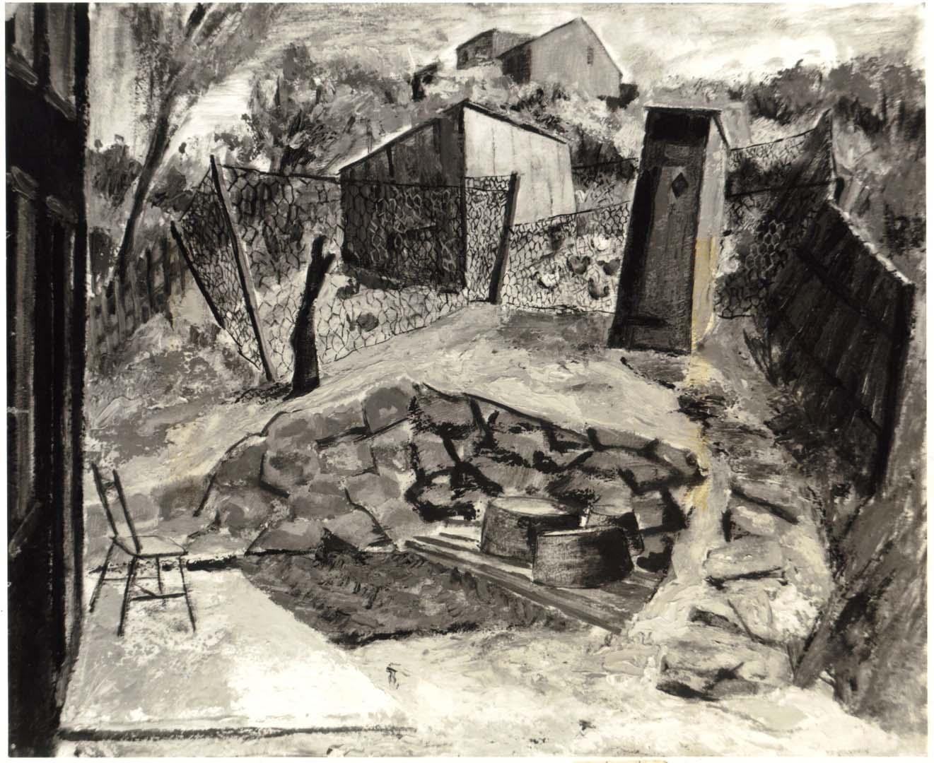 1947 Country Backyard Oil on Board 20 x 24