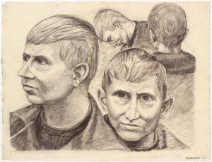 1947 NT (Portrait Studies 4 Heads) Charcoal on Paper 19 x 25