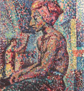 1947 Seated Model in Pointillist Style Oil on masonite 20 x 18.25