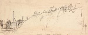 1949 Hazelwood Pittsburgh Graphite and Pen and Ink on Paper 5.4375 x 13.625