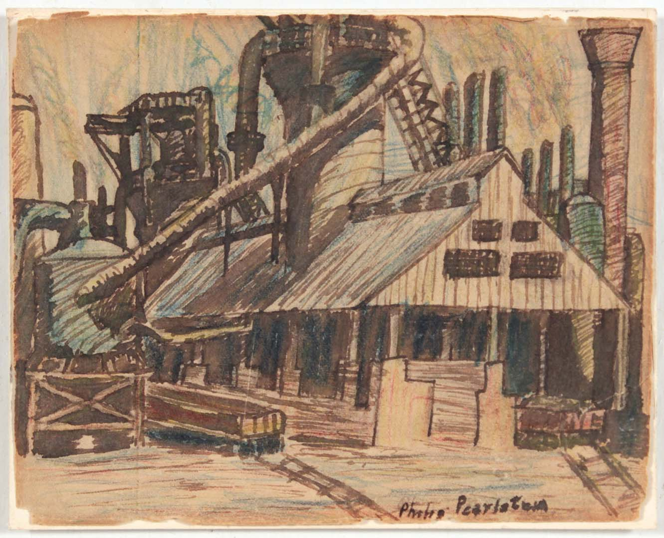 1949 Image 38 (Pittsburg Factory) Wash and Crayon on Paper 4 x 5