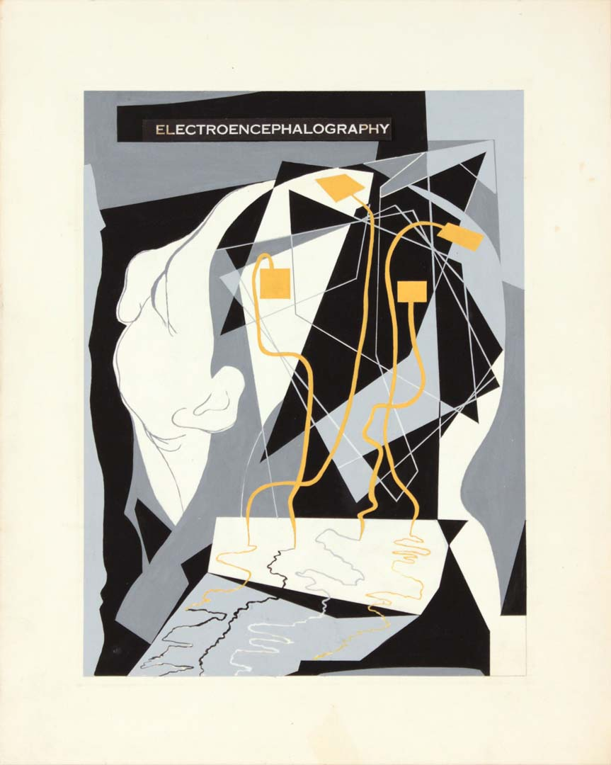 1949 Image 44 Electroencephalography Poster Paint on Paper 15 x 12