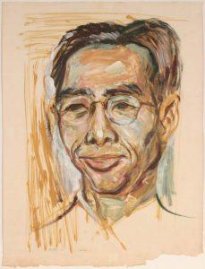 1949 Lin Ho Portrait Oil on Paper 25.25 x 19