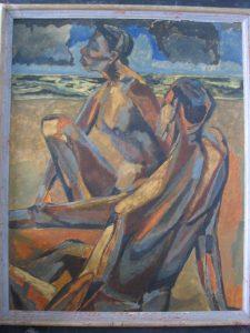 1949 Two Nudes on a Beach (Melanctha) Oil on Canvas 30 x 24
