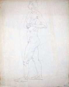 1948 Standing Female Model with Hands Clasped Pencil on Paper 23.875 x 18.875