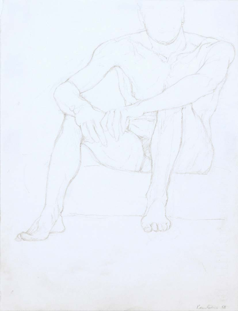 1958 Seated Male Model #2 Pencil on Paper 13 x 9