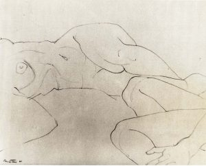 1960 Reclining and Seated Models Pencil on Paper 10.75 x 14