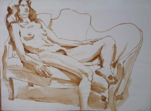 1969 Female Model Reclining on Sofa Sepia on Paper 22 x 29.875