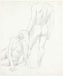 1969 Seated Model and Back of Standing Model Pencil on Paper 17 x 13.875